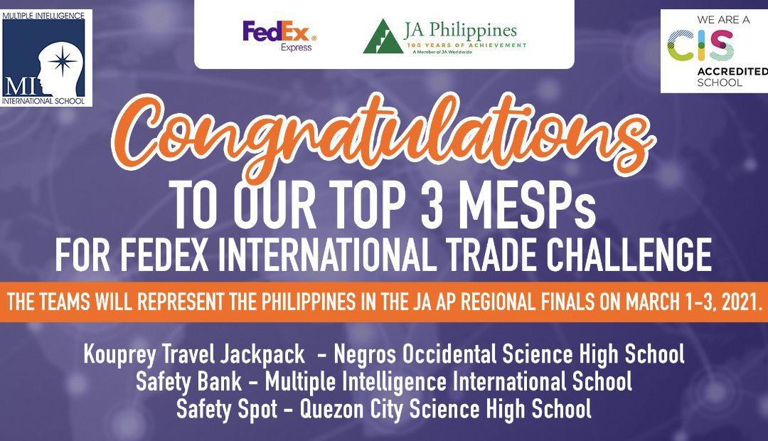 MI Upper Schoolers TOP 3 in FedEx/JA Int'l Trade Challenge